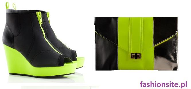 jaskrawe buty na koturnie i torebka
