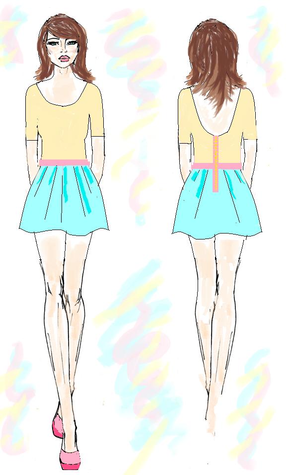 projekt sukienki w modnych kolorach