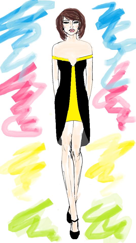 projekt sukienki w kolorach neonowych