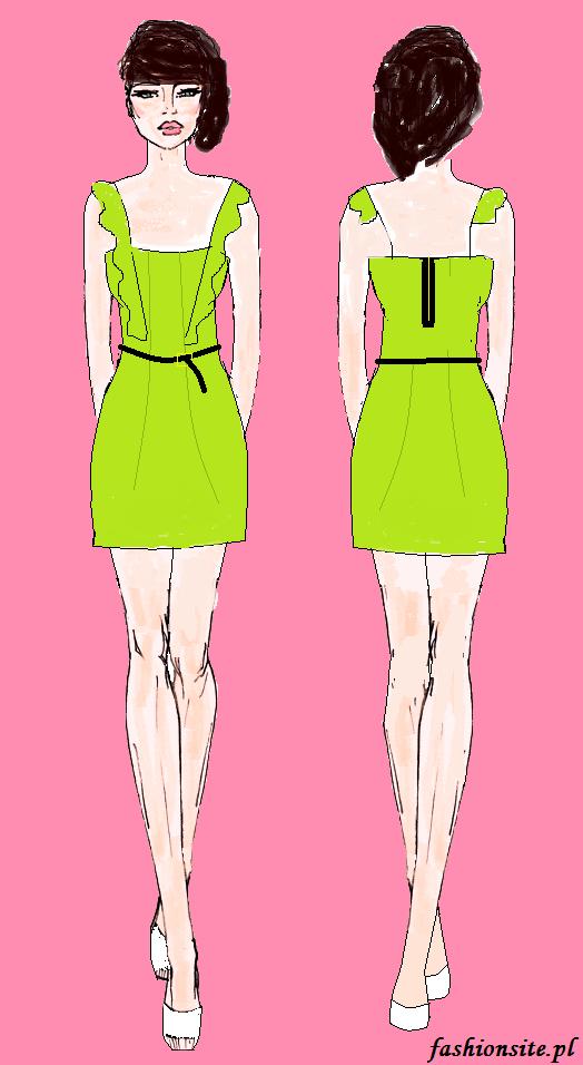 projekt limonkowej sukienki