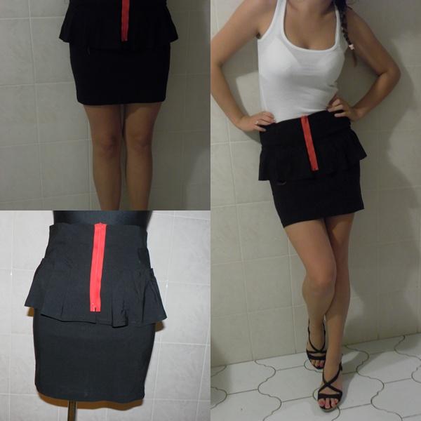 czarna spódnica z baskinką