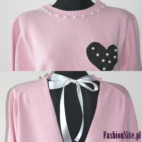 różowa bluza perły i serce