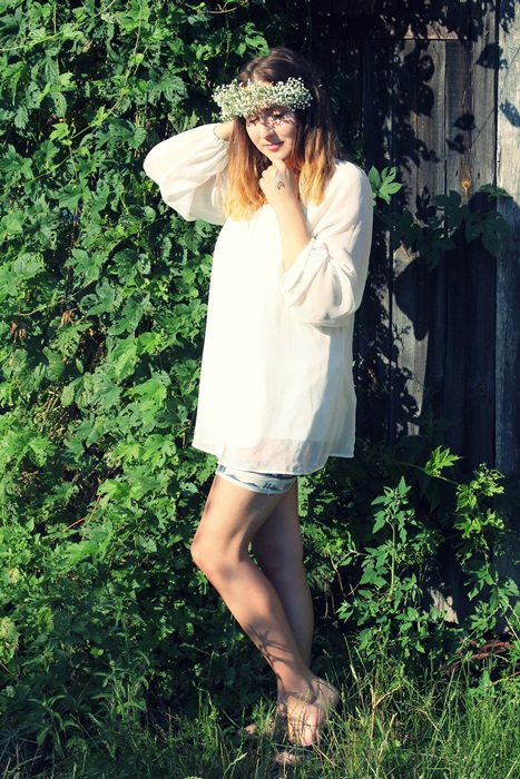 boho sukienka tunika biala